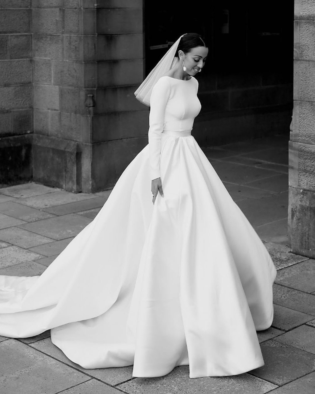 modest wedding dresses ball gown with long sleeves simple train steven khalil