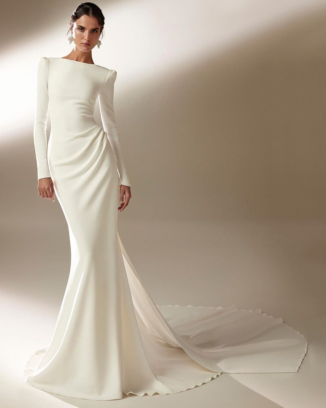 modest wedding dresses mermaid with long sleeves train simple pronovias