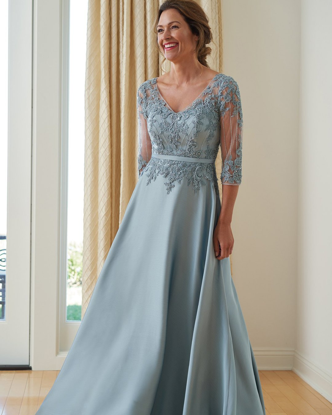 mother of the bride dresses a line with sleeves lace blue jasmine