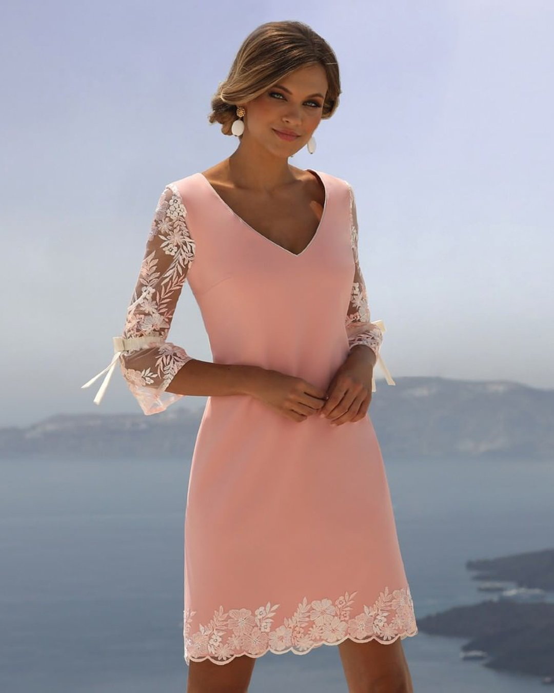 mother of the bride dresses short v neckline with three quote sleeves linearaffaelli