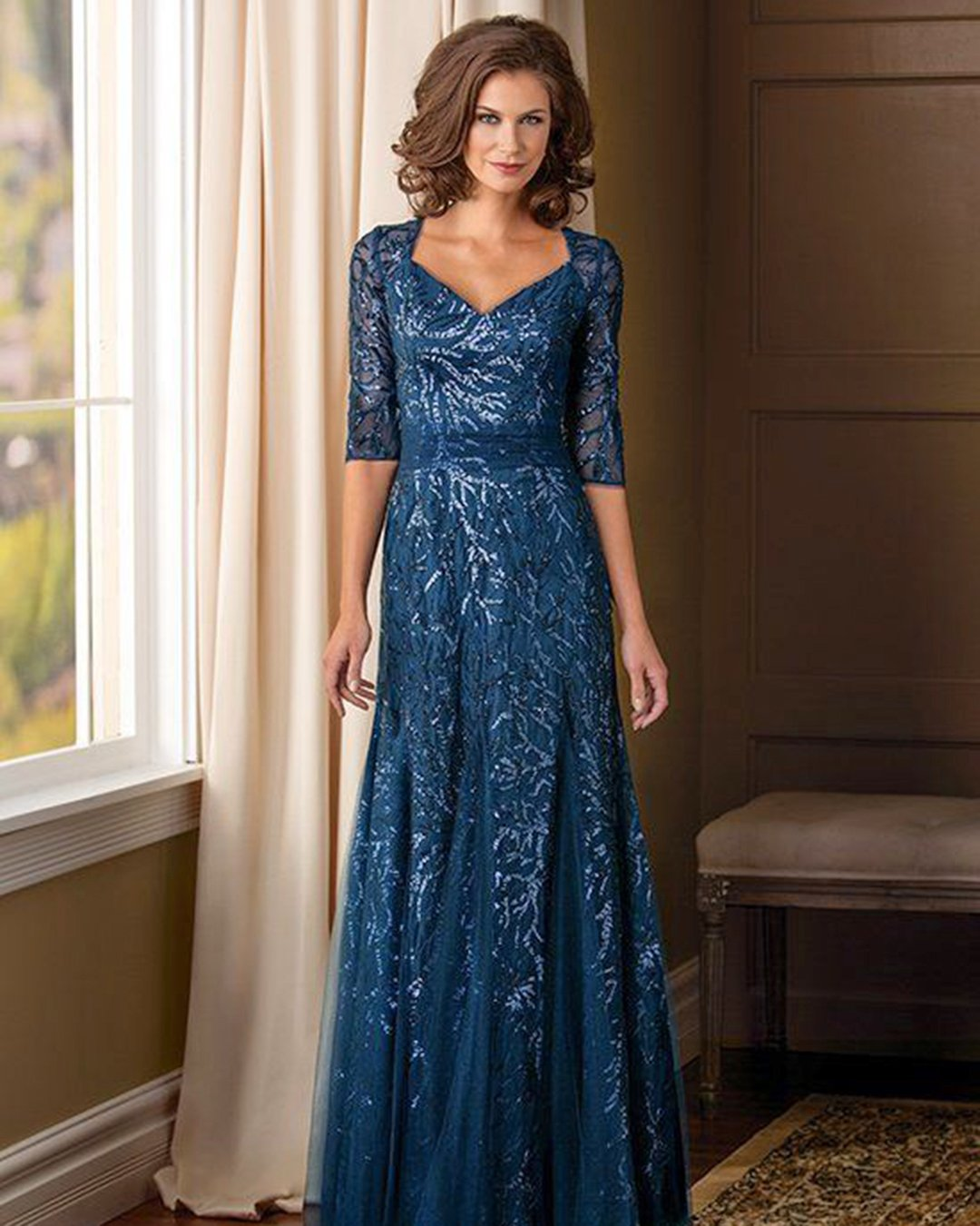 mother of the bride dresses v neck with three quote sleeeves sequins navy jade couture