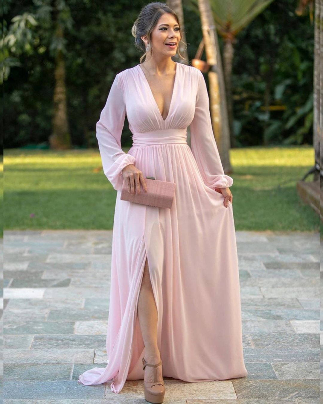 mother of the bride dresses v neckline with long sleeves pink simple vestidosoficial