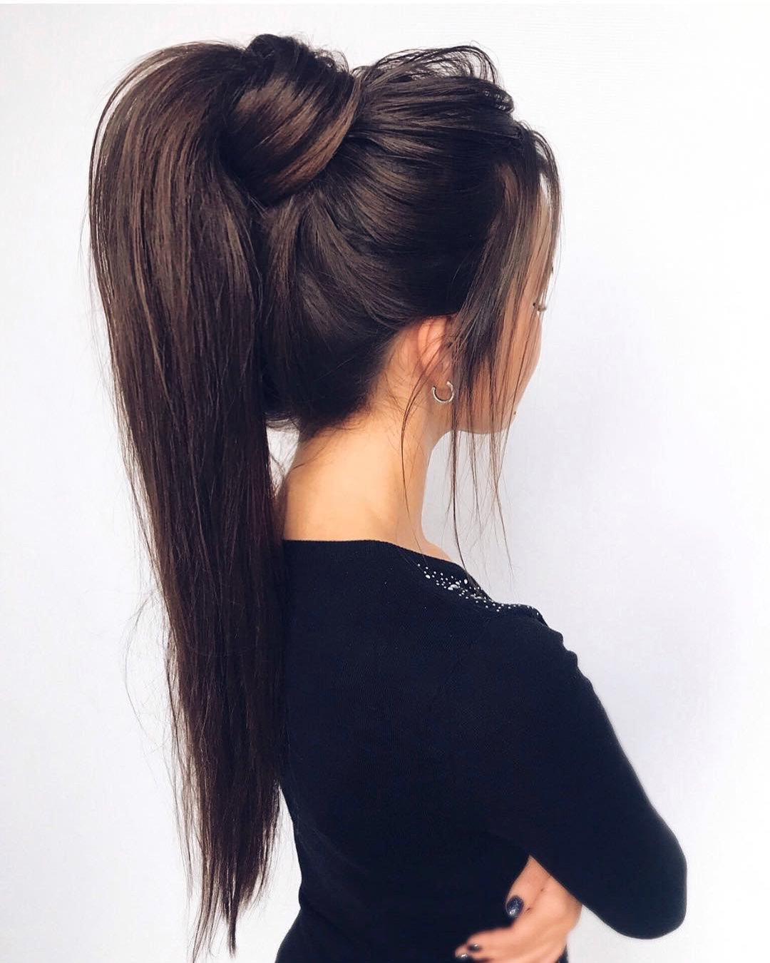 pony tail hairstyles extremely high smooth on dark hair_vera