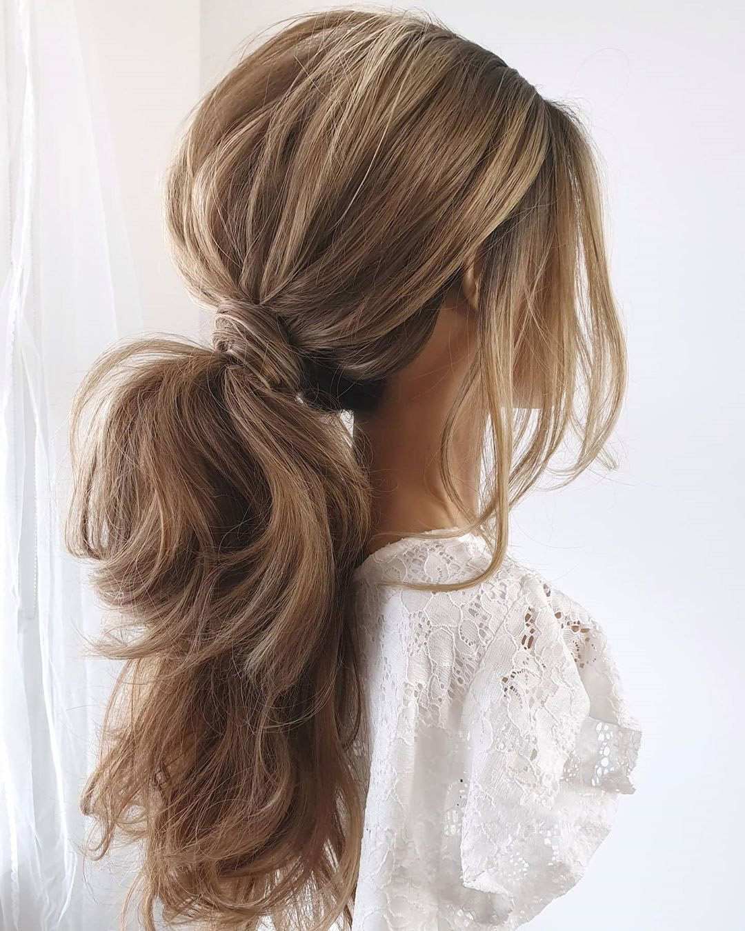 pony tail hairstyles messy casual swept on long hair cathughesxo