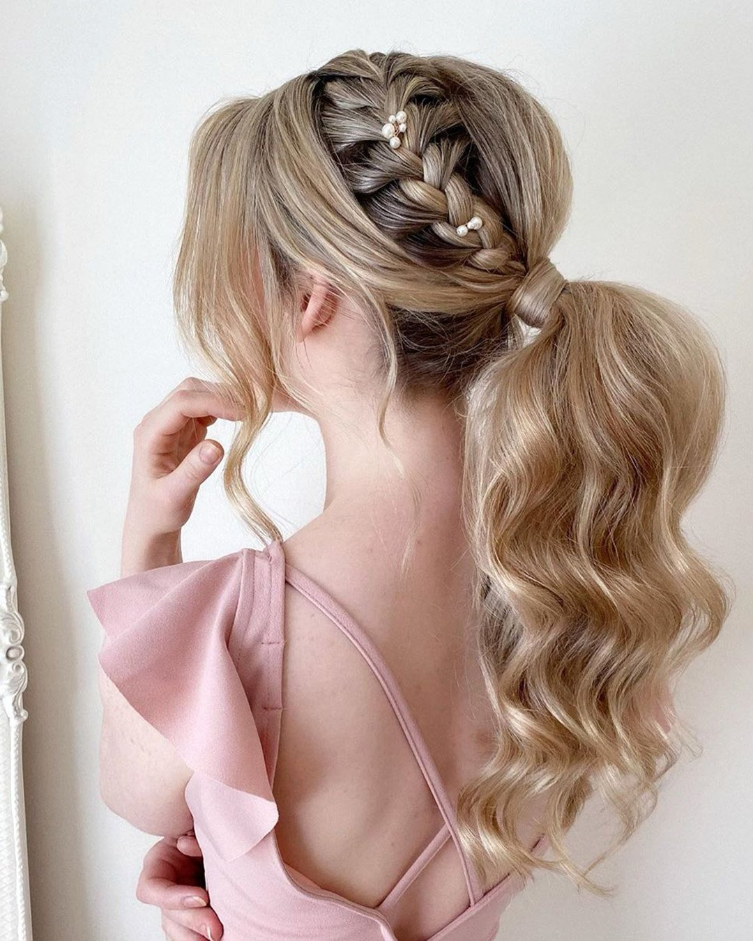 pony tail hairstyles wedding side braid volume long pearly.hairstylist