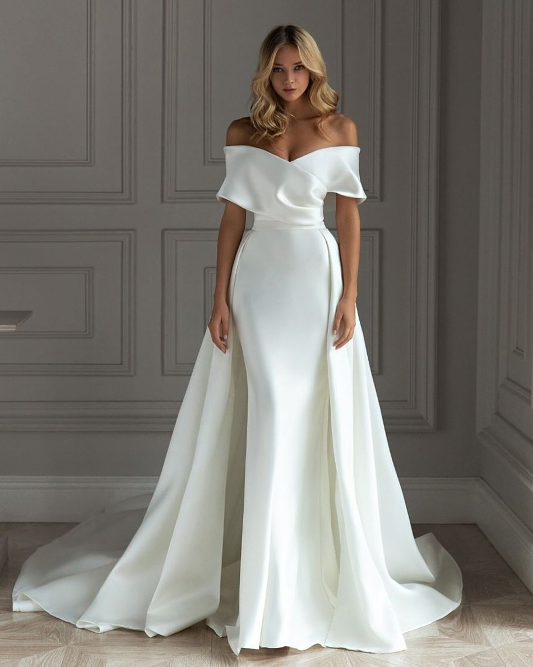 popular instagram posts 2020 wedding dresses simple sheath off the shoulder eva lender