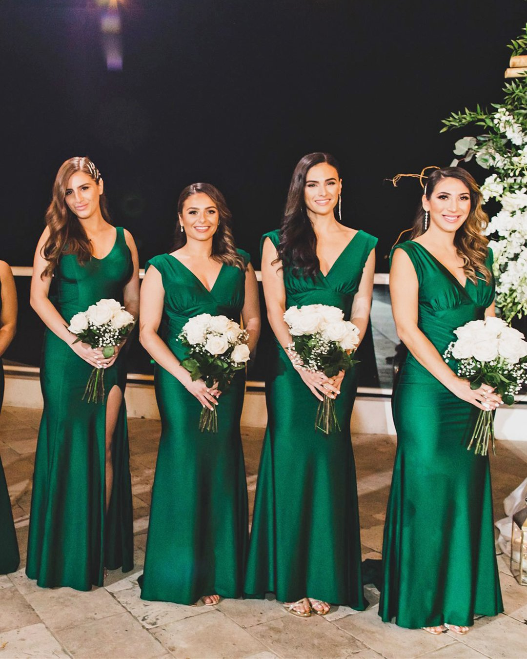 real wedding bridesmaids dresses green long simple v neckline reflections