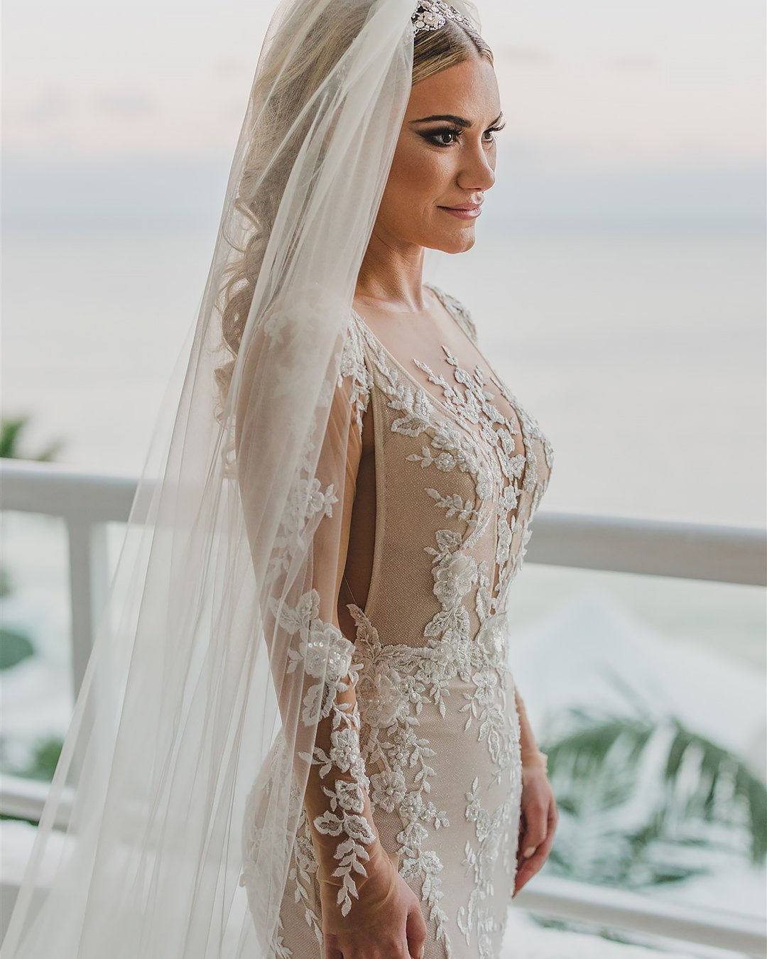 real wedding dress with illusion long sleeves lace galia lahav