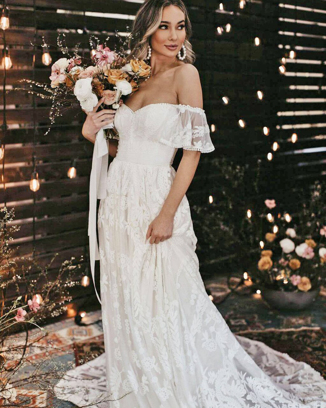 country style wedding dresses a line off the shoulder dreamer and lovers