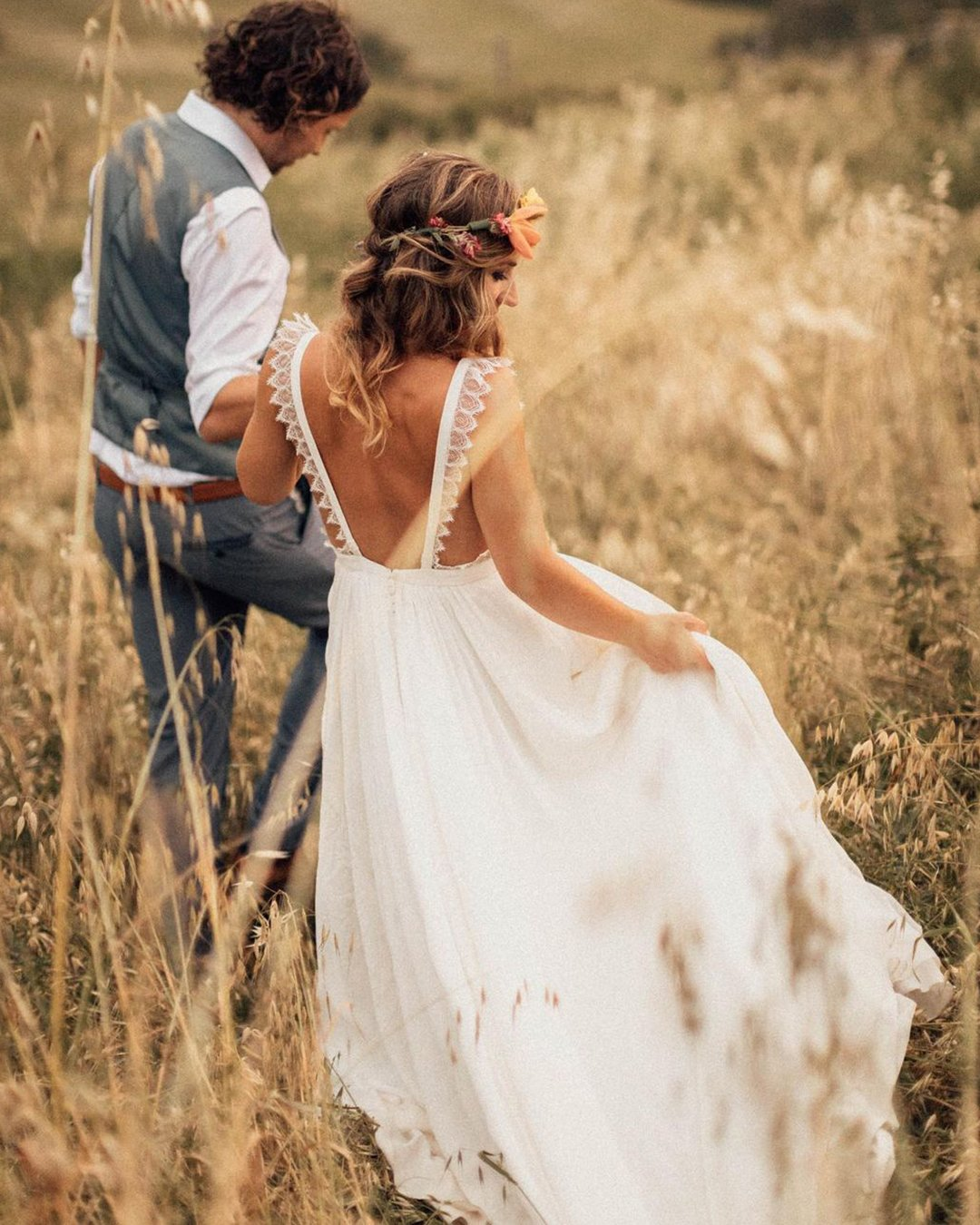 country style wedding dresses a line open back bohemian eleonore pauc