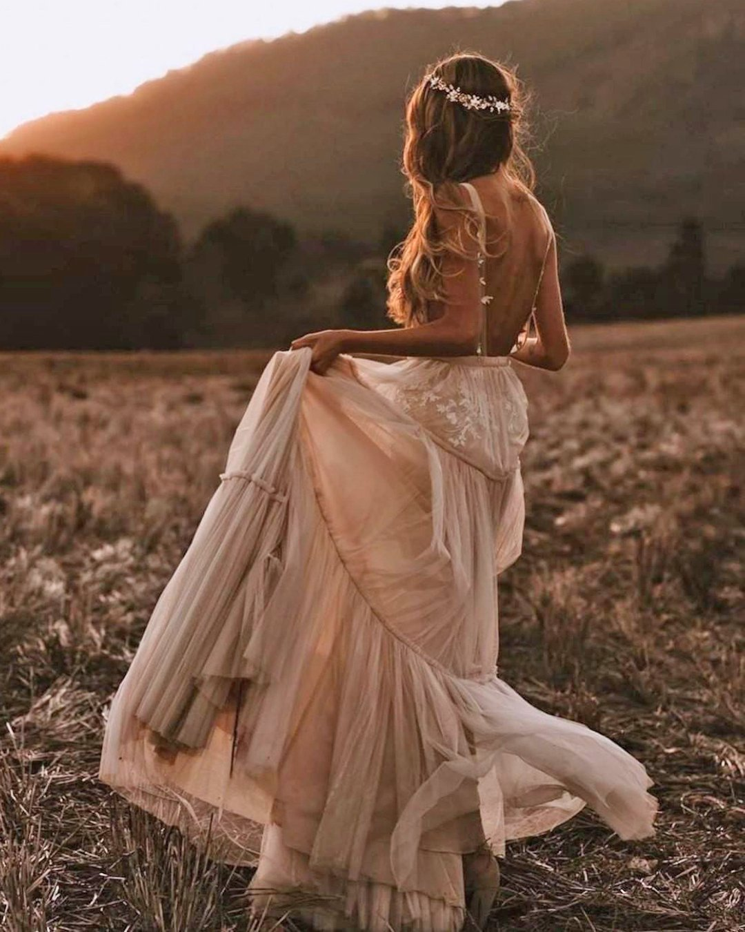 country style wedding dresses a line v back bohemian berta