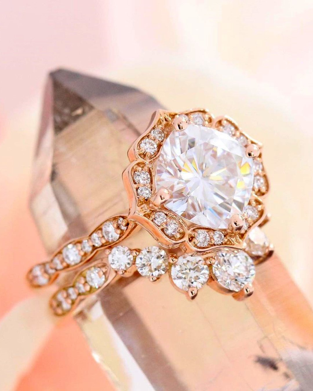 round engagement rings rose gold engagement ring floral ring