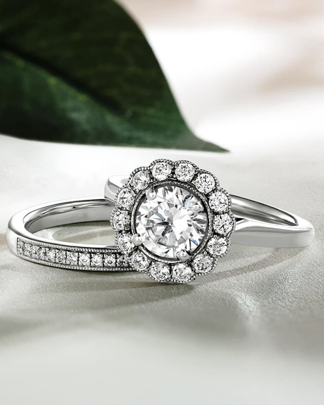 round engagement rings white gold engagement ring floral ring