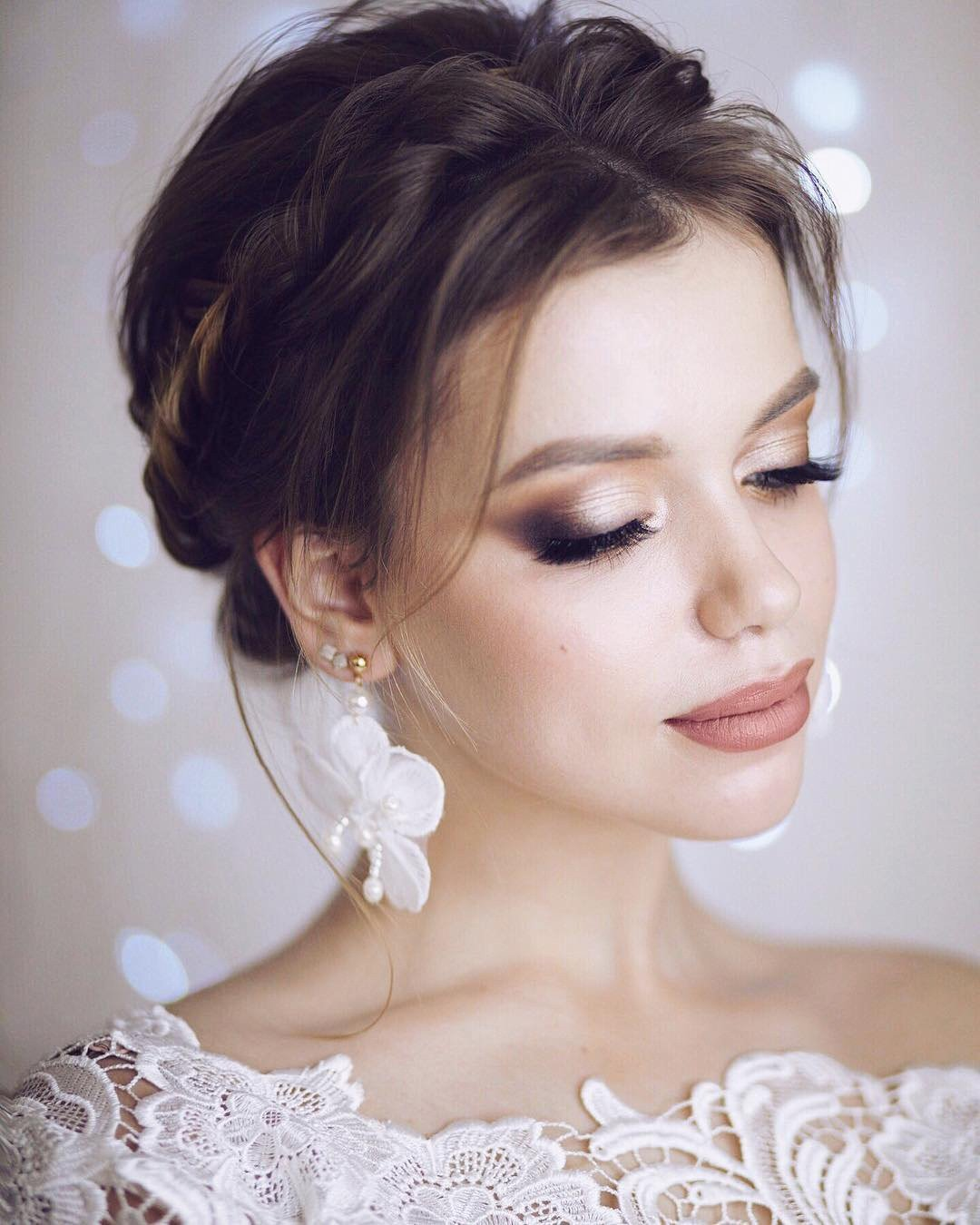 wedding makeup light smokey eyes nude lips lenabogucharskaya