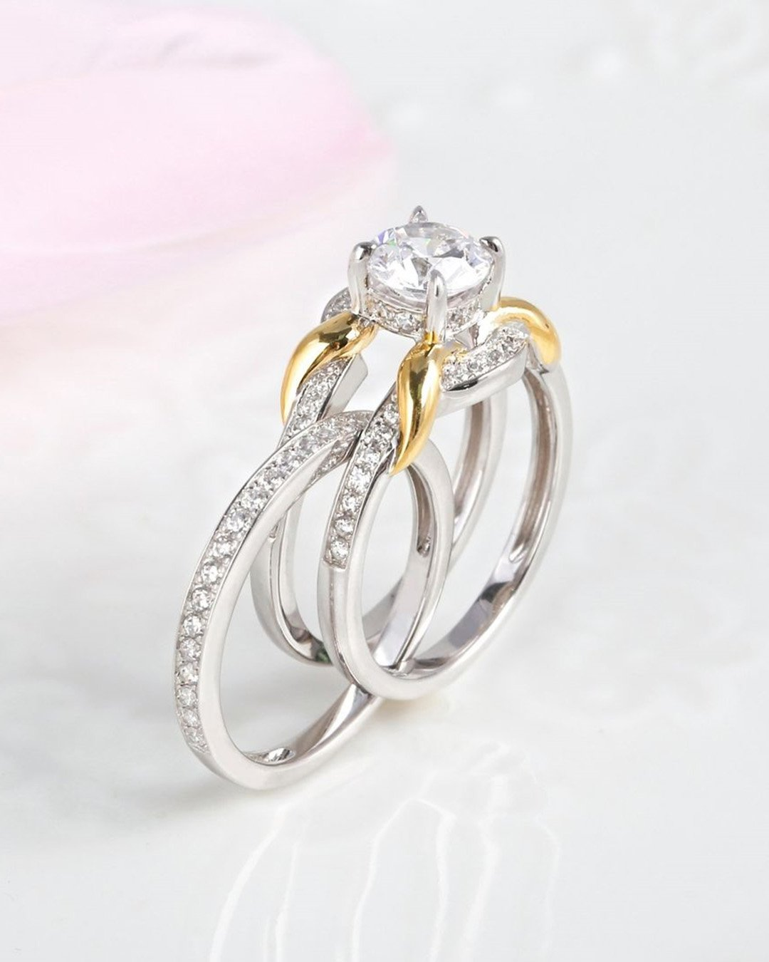 wedding ring sets diamond ring two tone ring