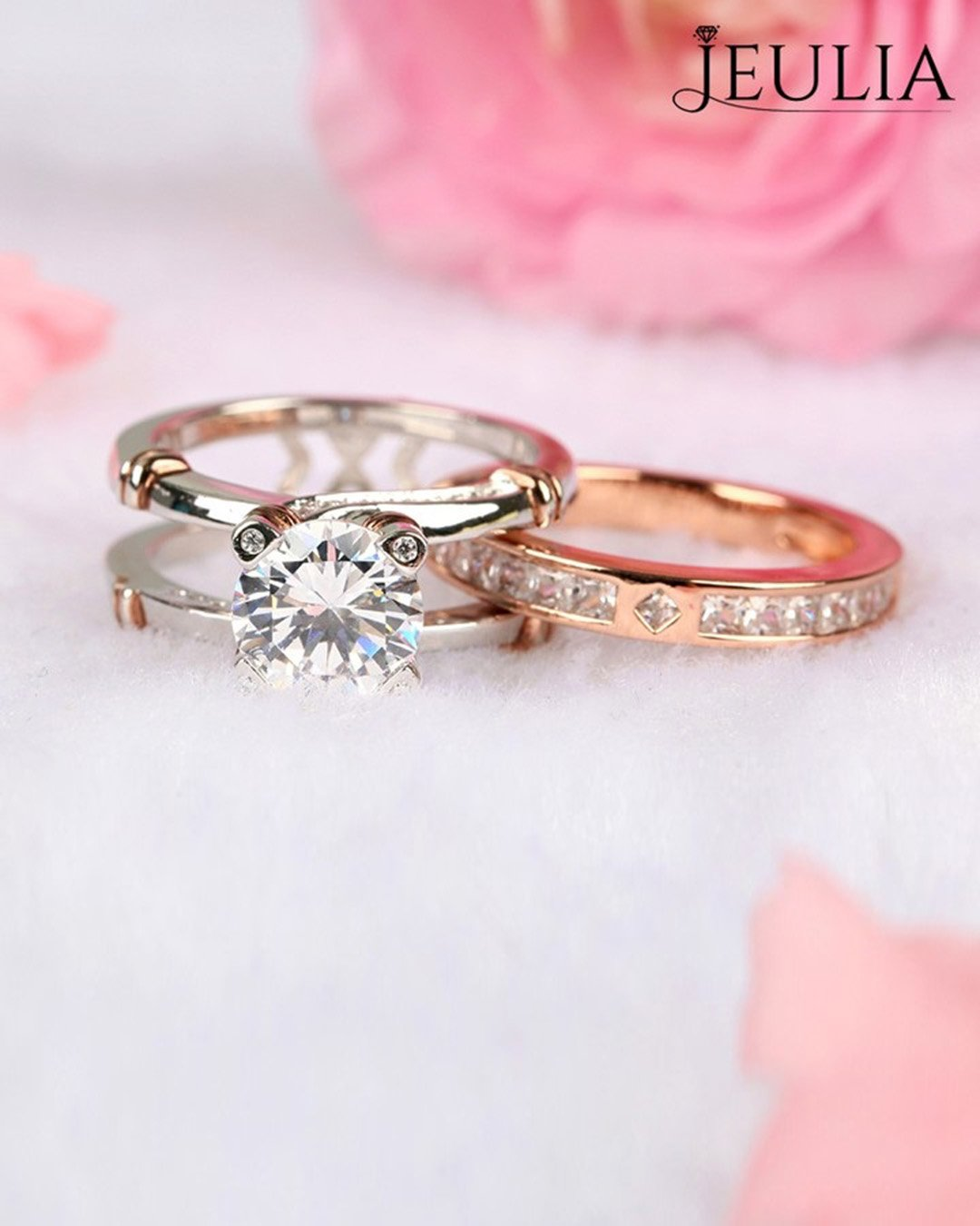 wedding ring sets modern rings two tone ring