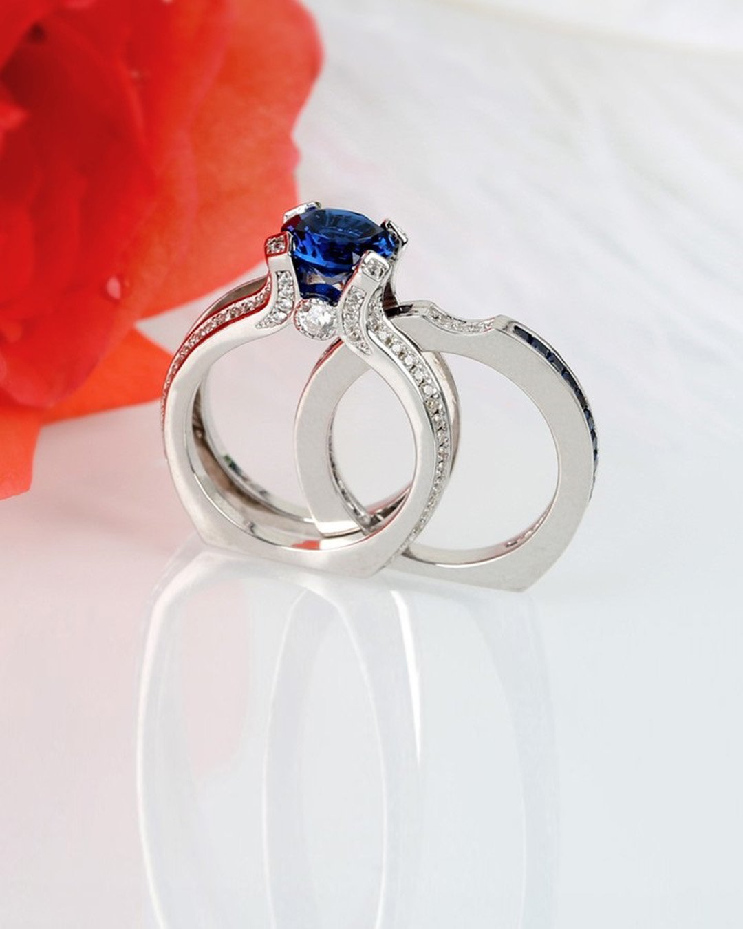wedding ring sets modern rings white gold ring sapphire ring