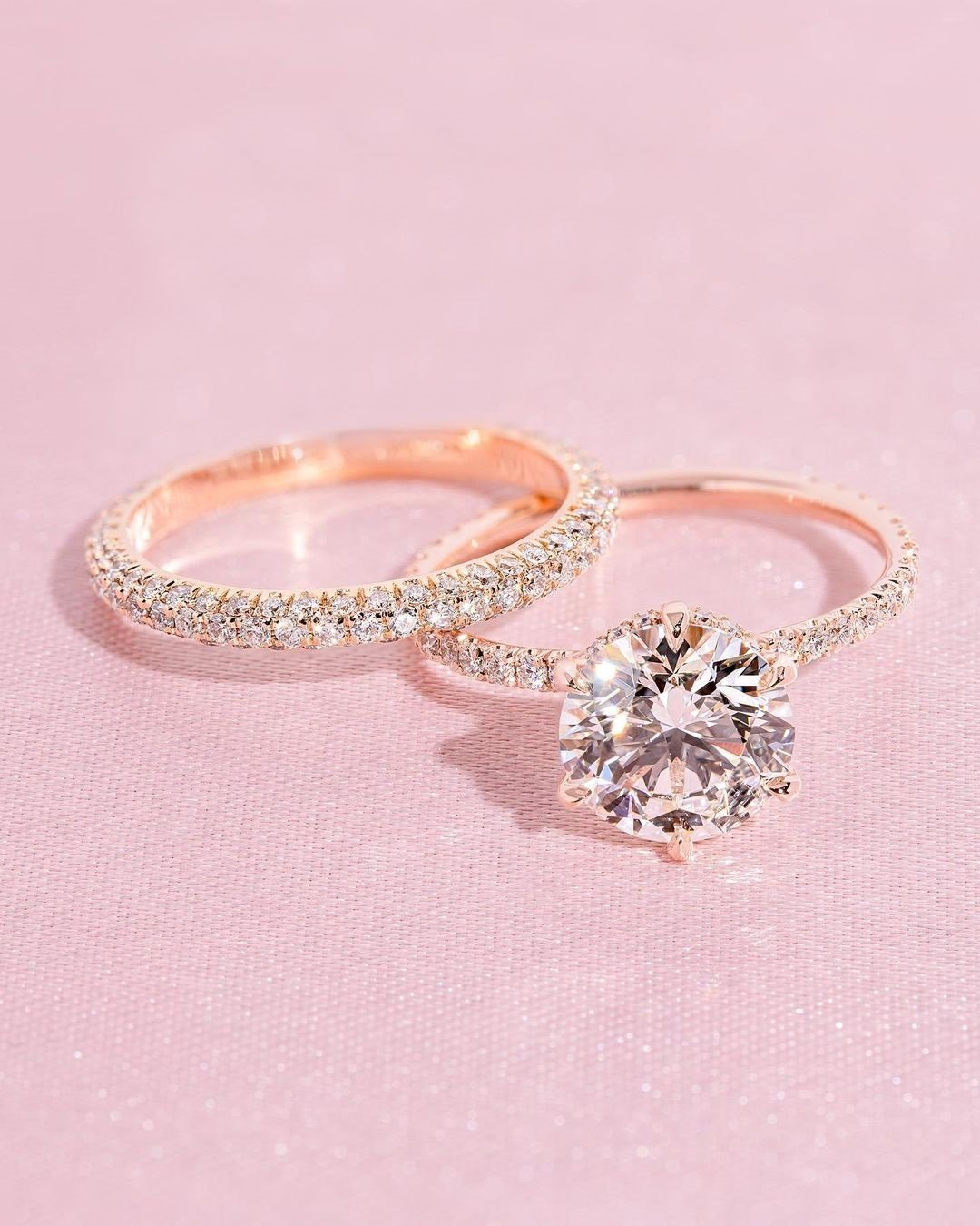 wedding ring sets rose gold ring diamond ring round ring