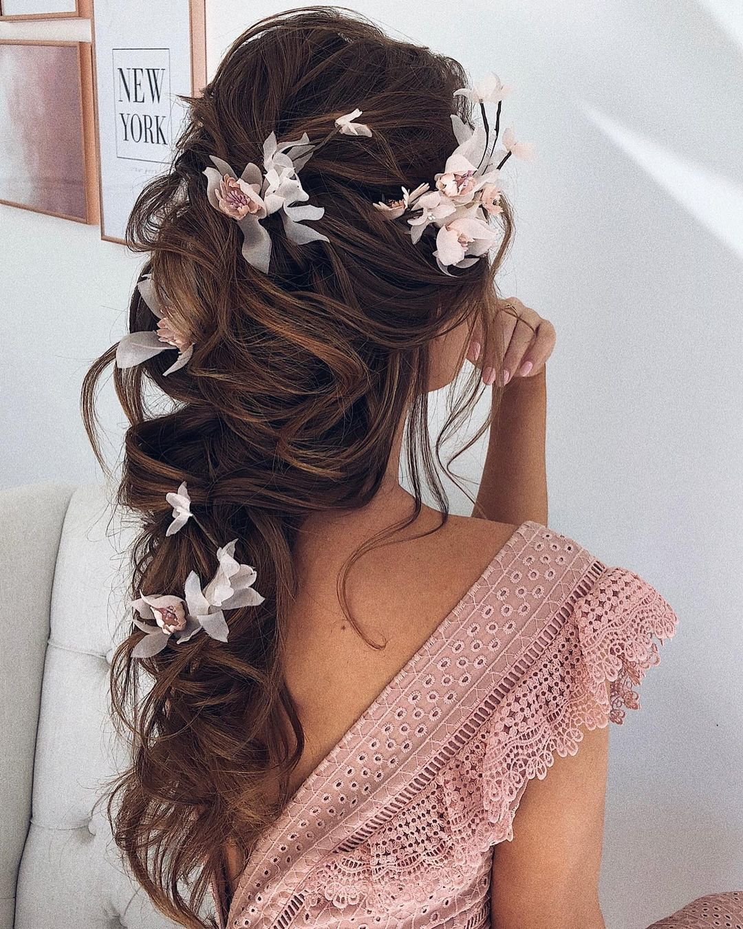 half up half down wedding hairstyles cascading with flowers ulyana.aster