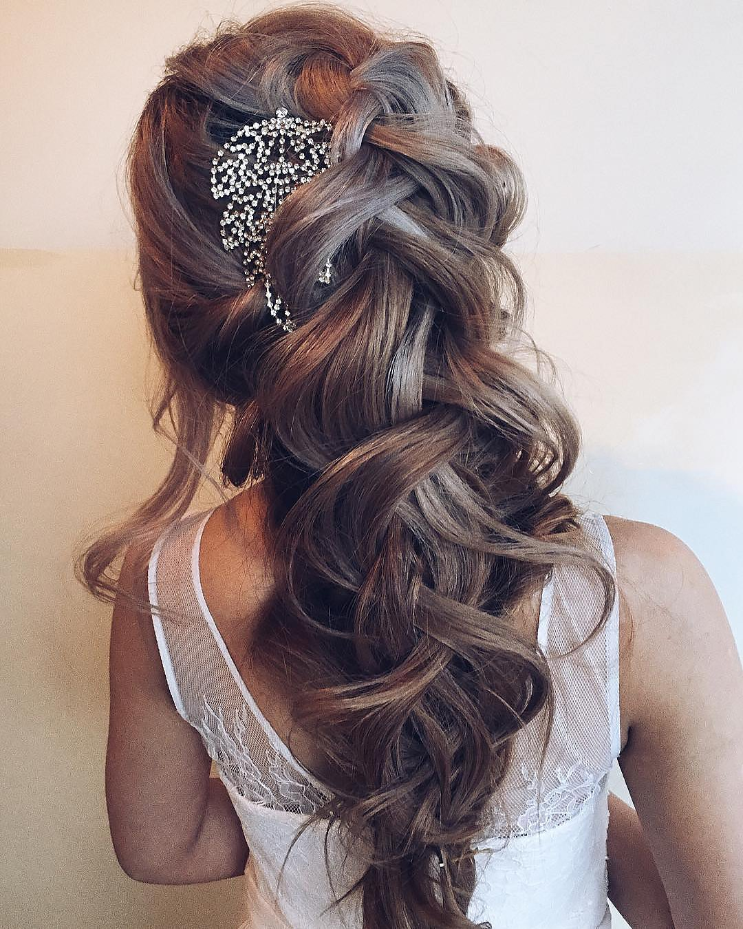half up half down wedding hairstyles cascading with volume braid ulyana.aster