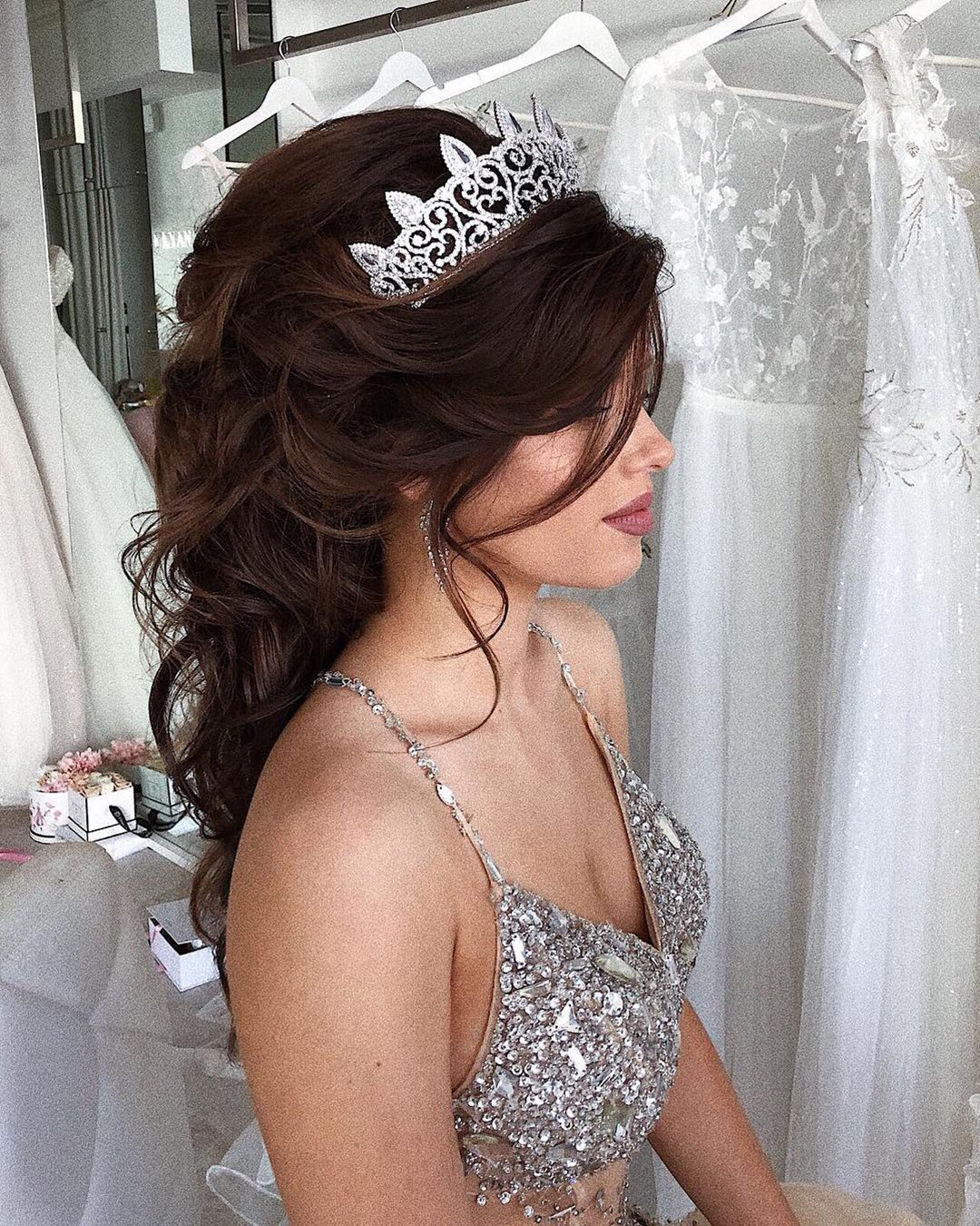 half up half down wedding hairstyles dark hair with tiara ulyana.aster