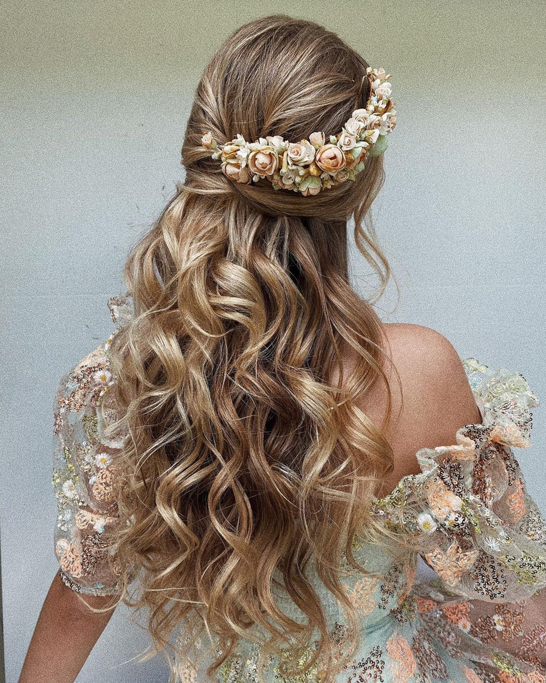 half up half down wedding hairstyles long curls ulyana.aster