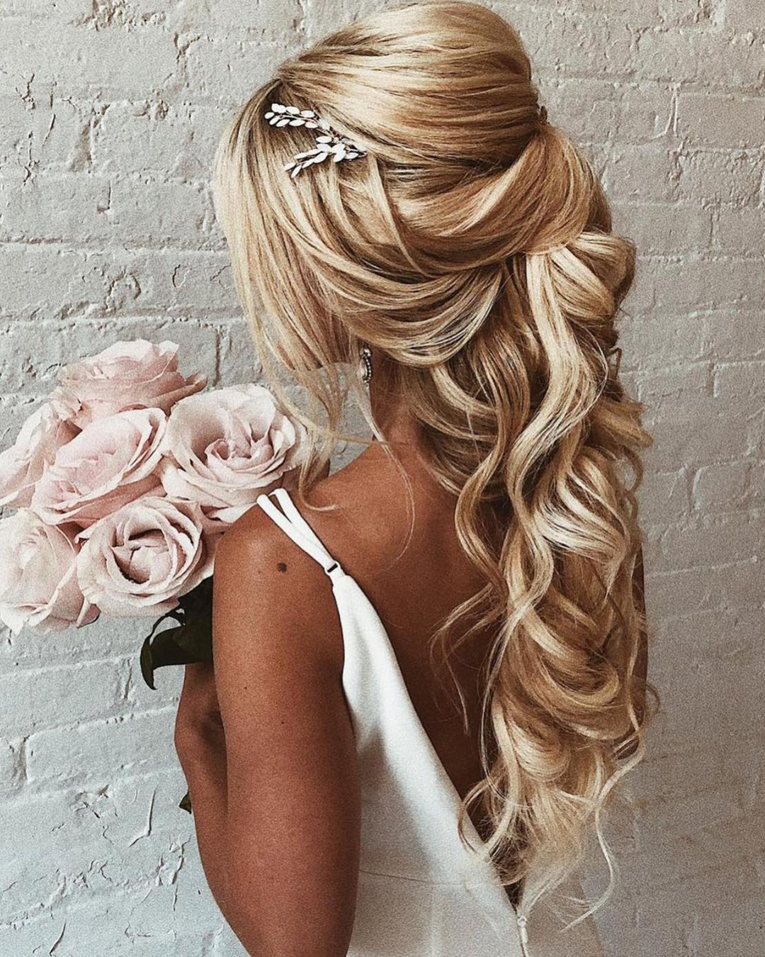 half up half down wedding hairstyles volume textured blonde ulyana.aster