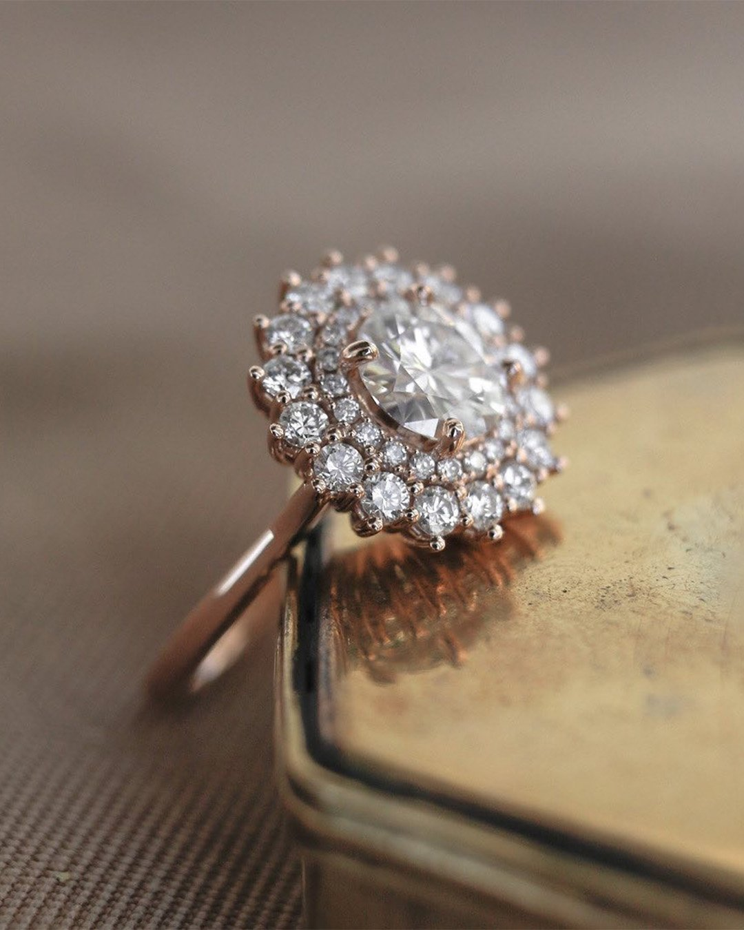 rose gold engagement rings halo engagement rings