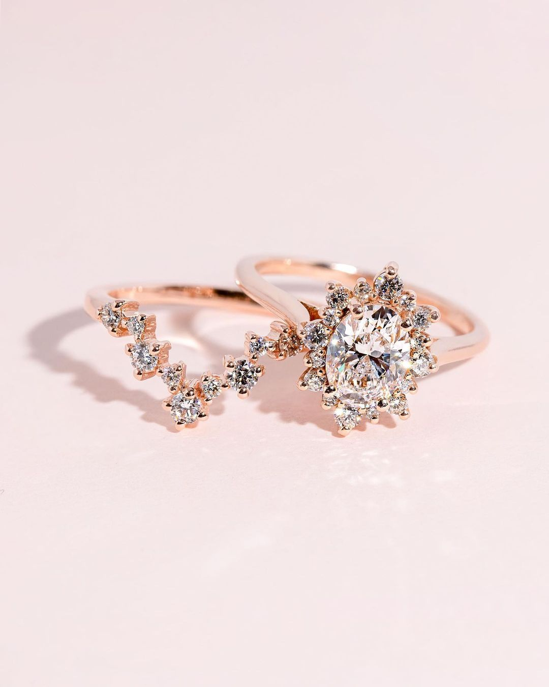 rose gold engagement rings oval cut engagement ring bridal sets