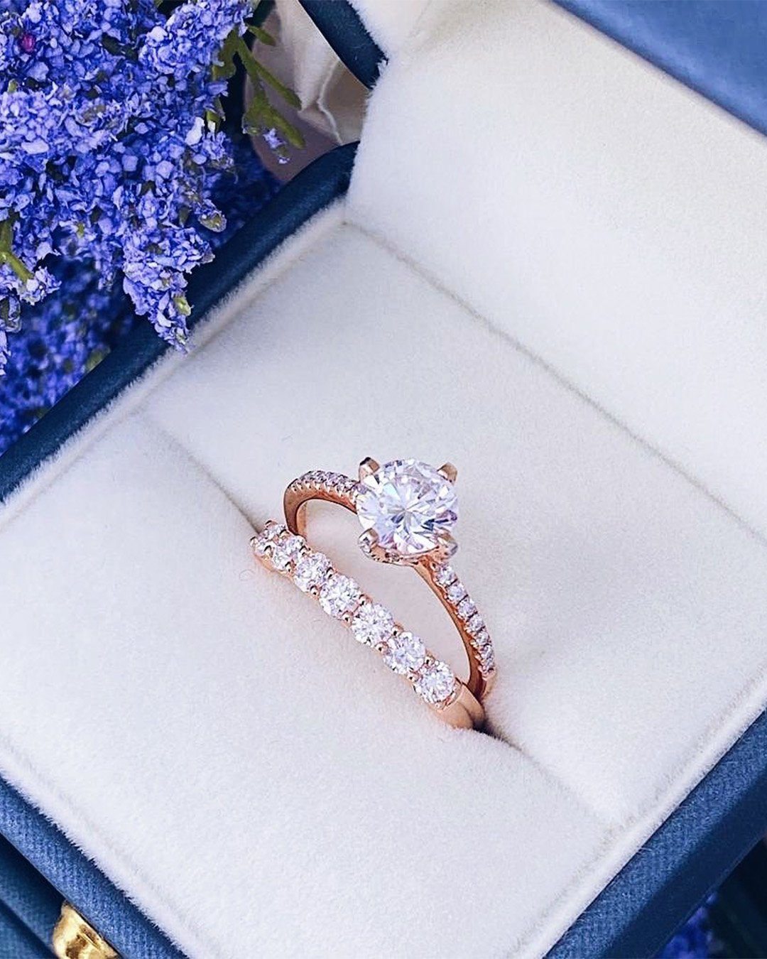 rose gold engagement rings wedding ring sets