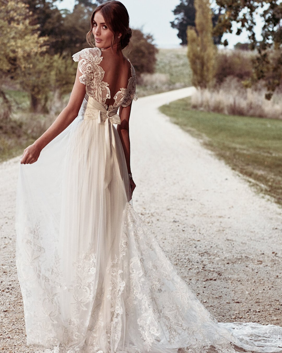 vintage inspired wedding dresses a line low back with bow boho rustic campbell