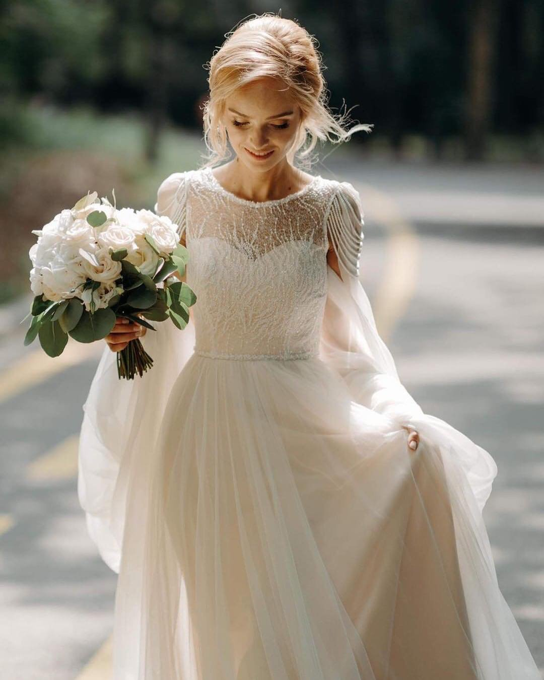 vintage inspired wedding dresses a line with cape country ligiamocan