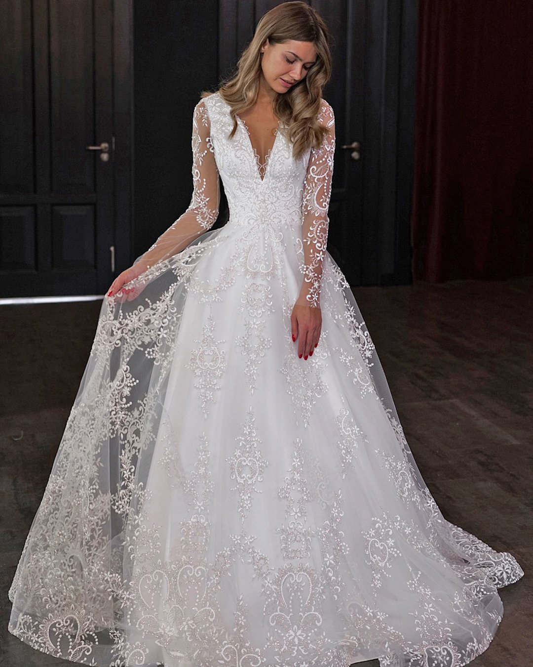 vintage inspired wedding dresses a line with long sleeves lace olivia bottega