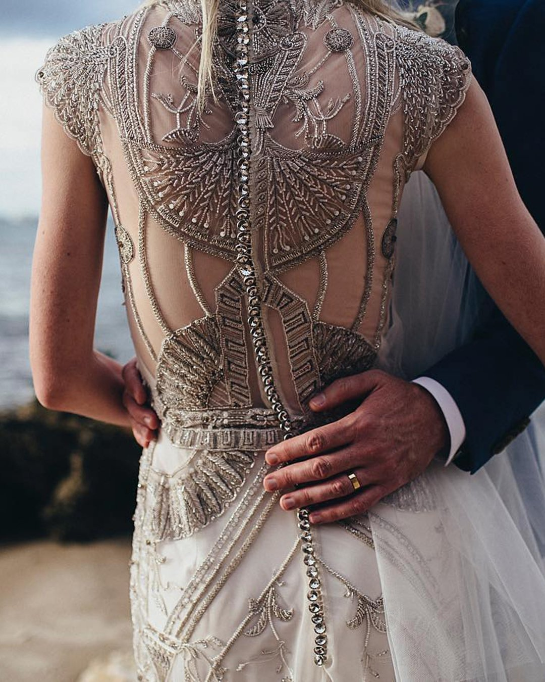 vintage inspired wedding dresses jeweled back tattoo effect gwendolynne