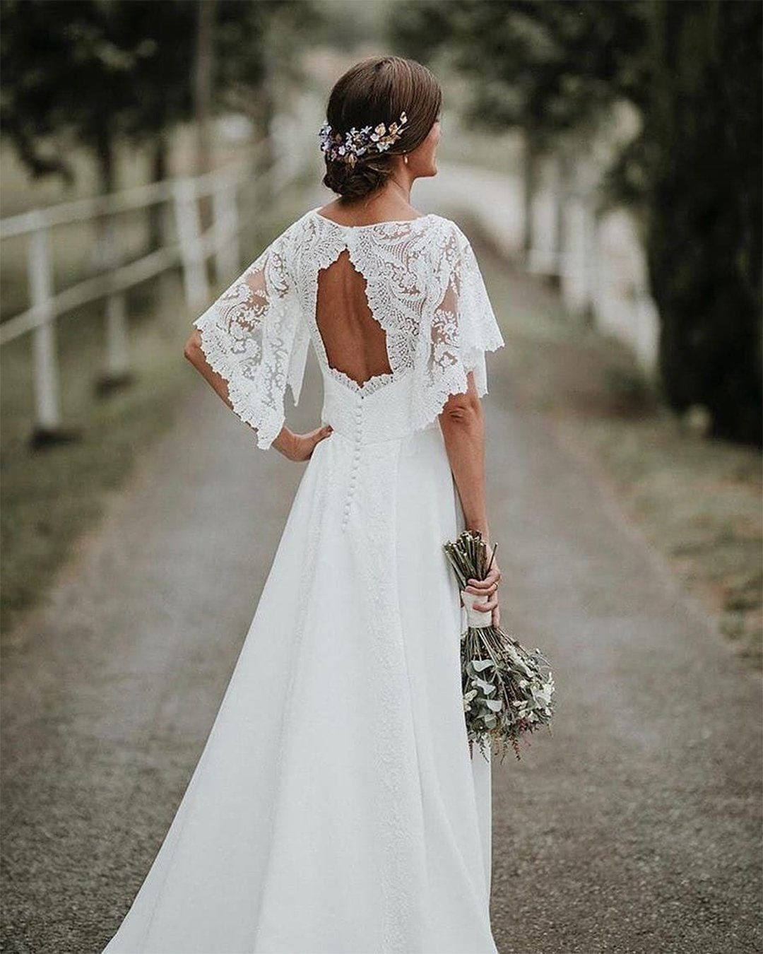 vintage inspired wedding dresses open back lace bohemian elena mur