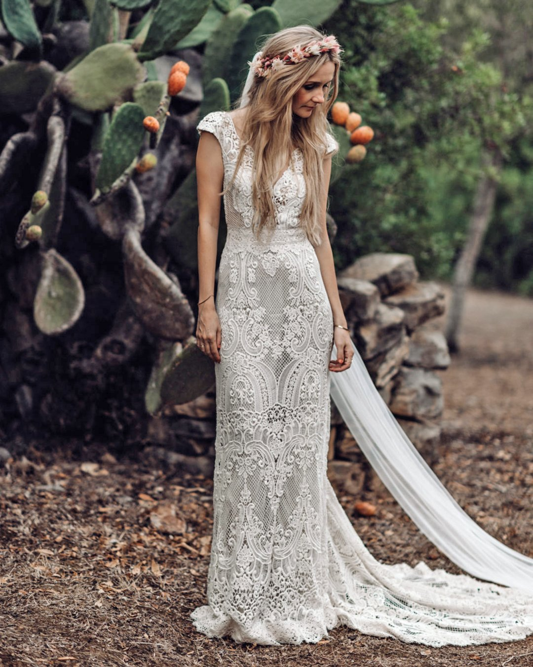 vintage inspired wedding dresses sheath lace boho tali
