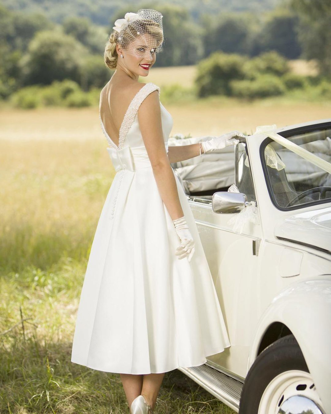 vintage inspired wedding dresses tea length v back with bow true bride