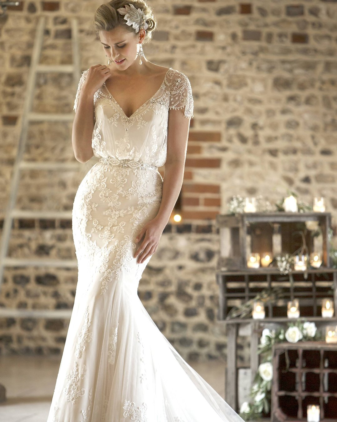 vintage inspired wedding dresses with cap sleeves beaded true bride