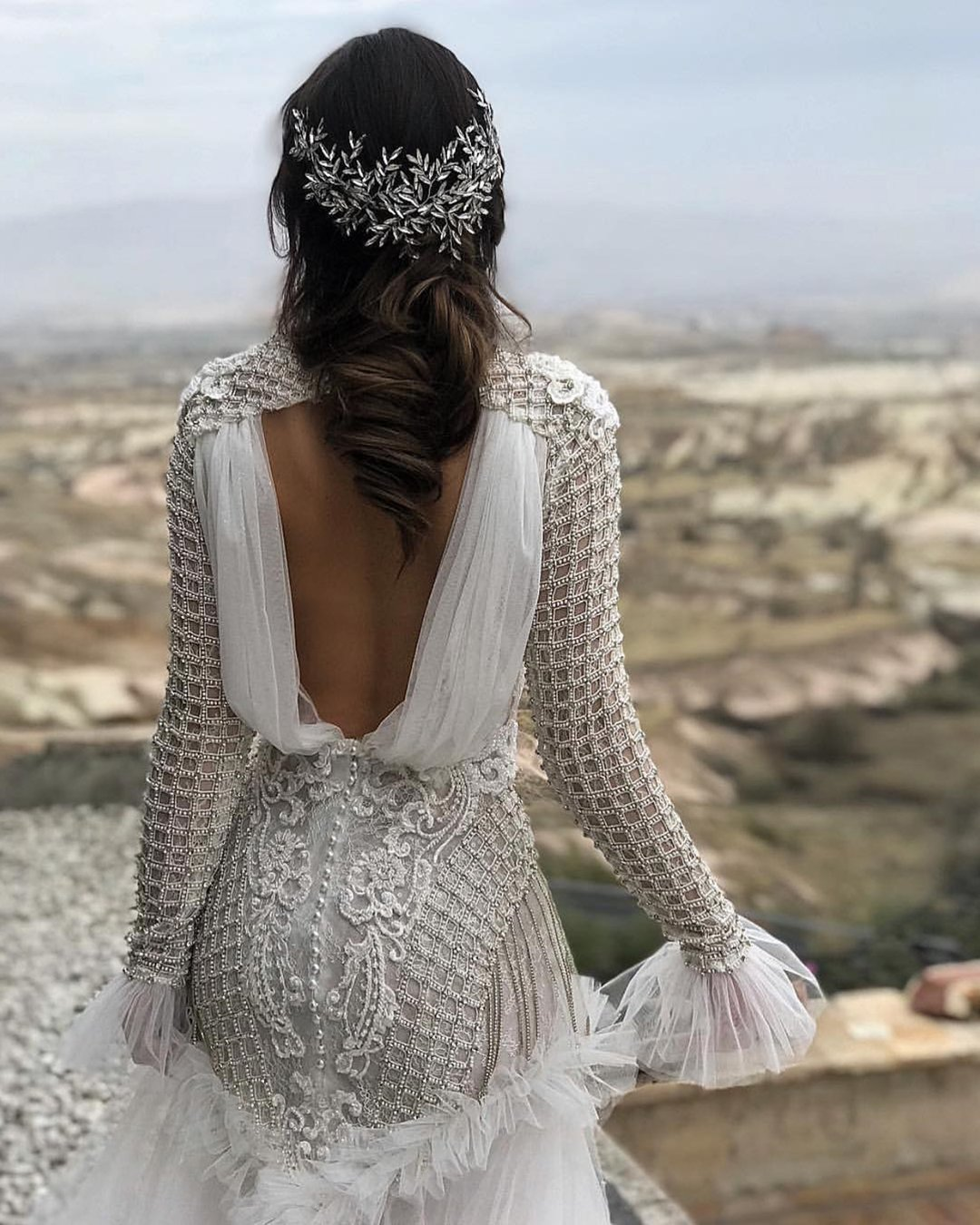 vintage inspired wedding dresses with long sleeves open back sequins arzu ayar