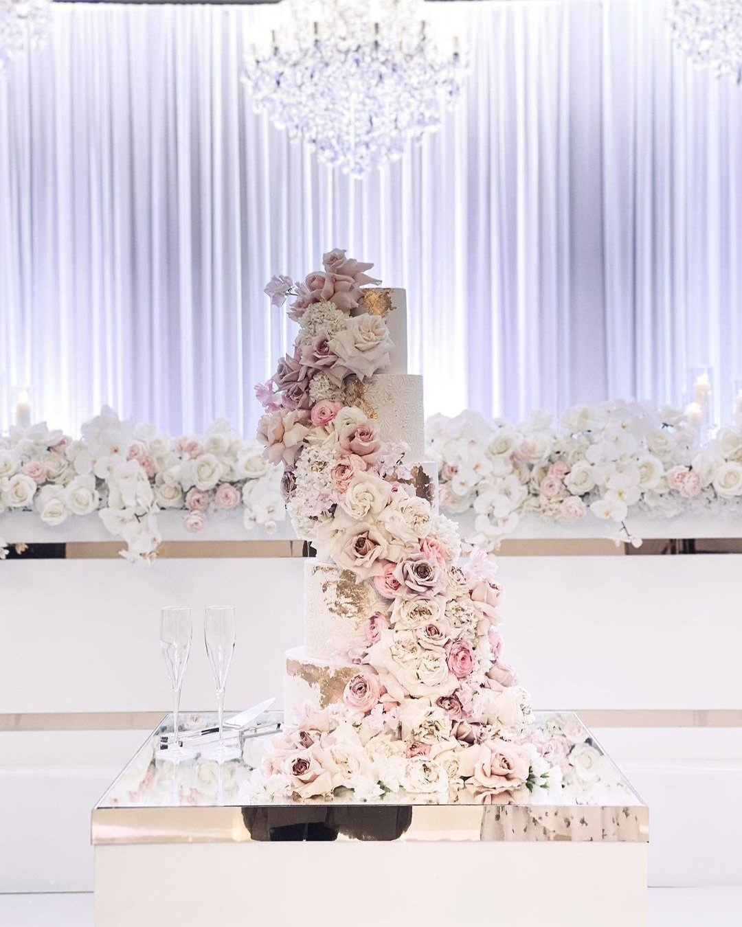 wedding cake trends blush flowers laombrecreations