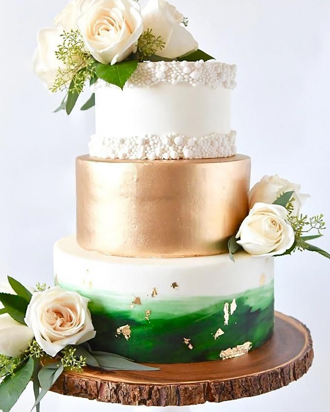 wedding cake trends cake with gold ang green accent sweetcheatscakesn