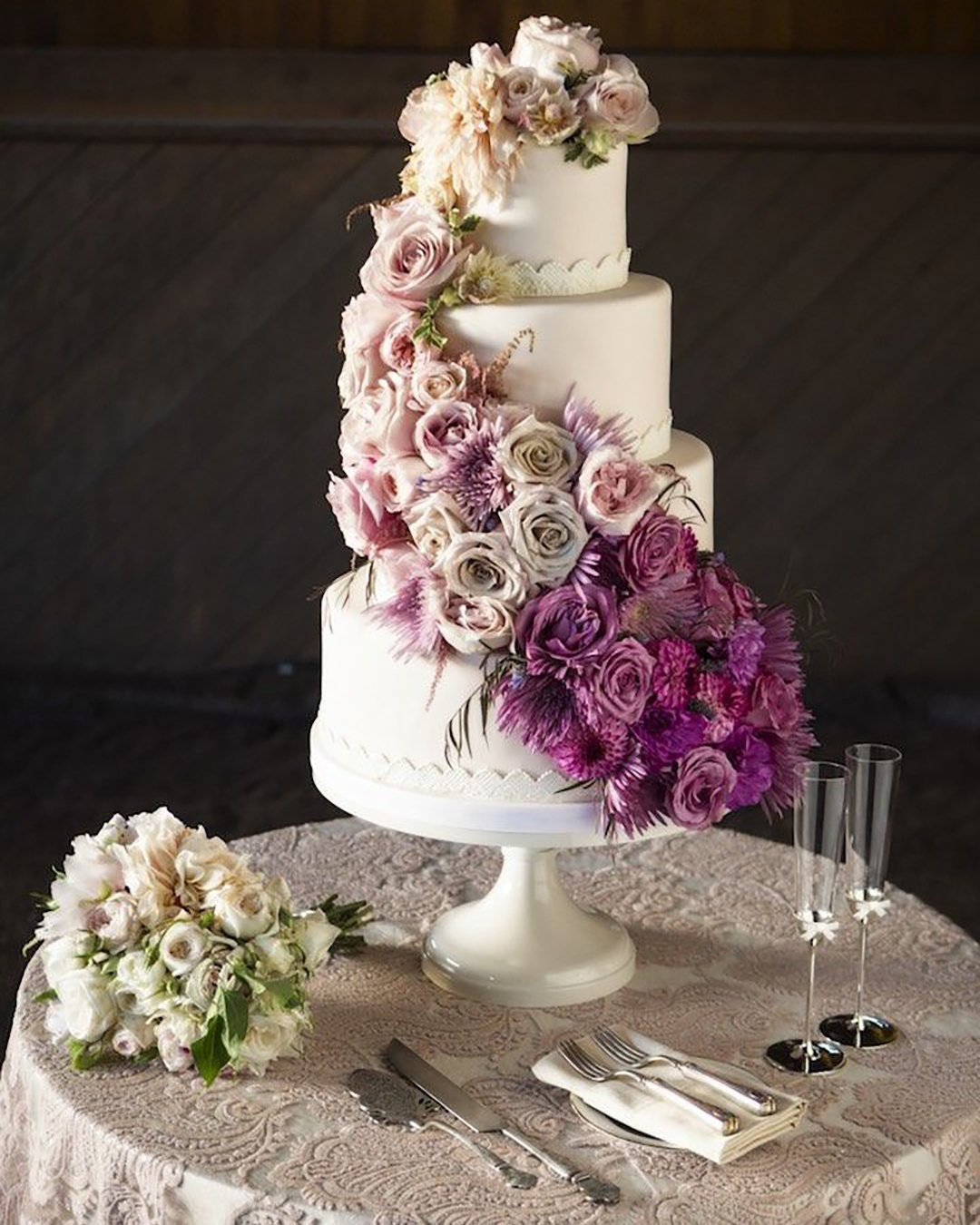 wedding cake trends flower cascade white cake Catherine Hall Studios