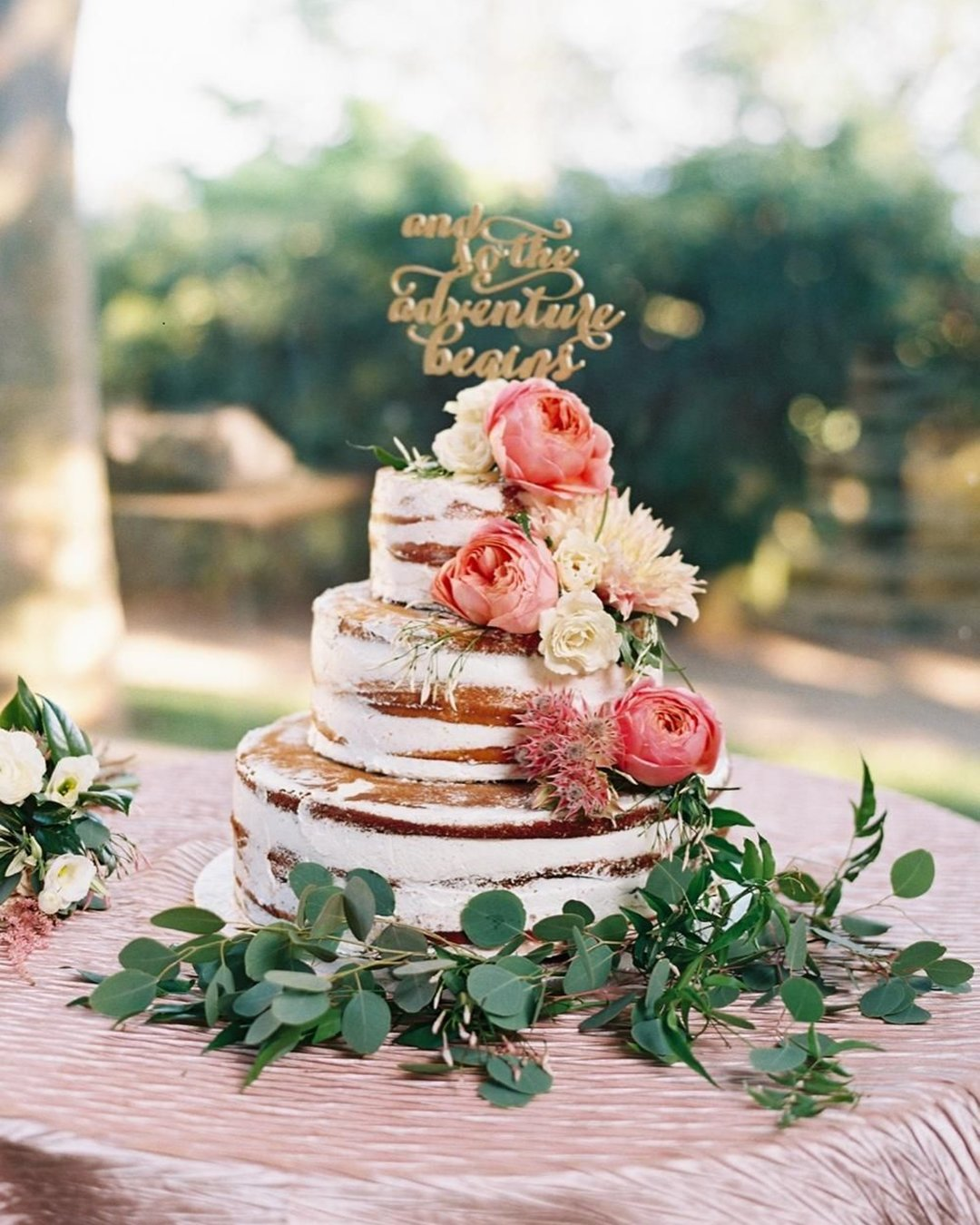 wedding cake trends naked rustic cake Perry Vaile Photography