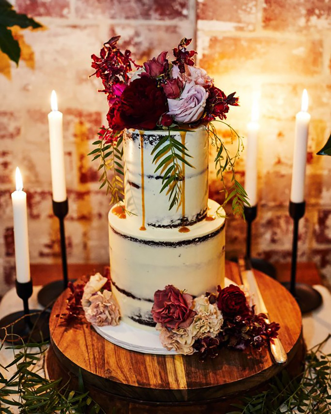 wedding cake trends rustic cake red flower missladybirdcakes