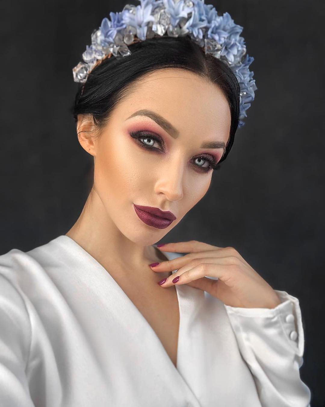 boho wedding makeup chic bright in burgundy tones evgenyamelnikova7