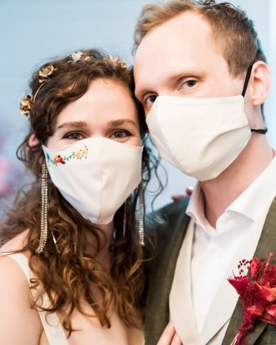 bridal survival guide bride groom masks