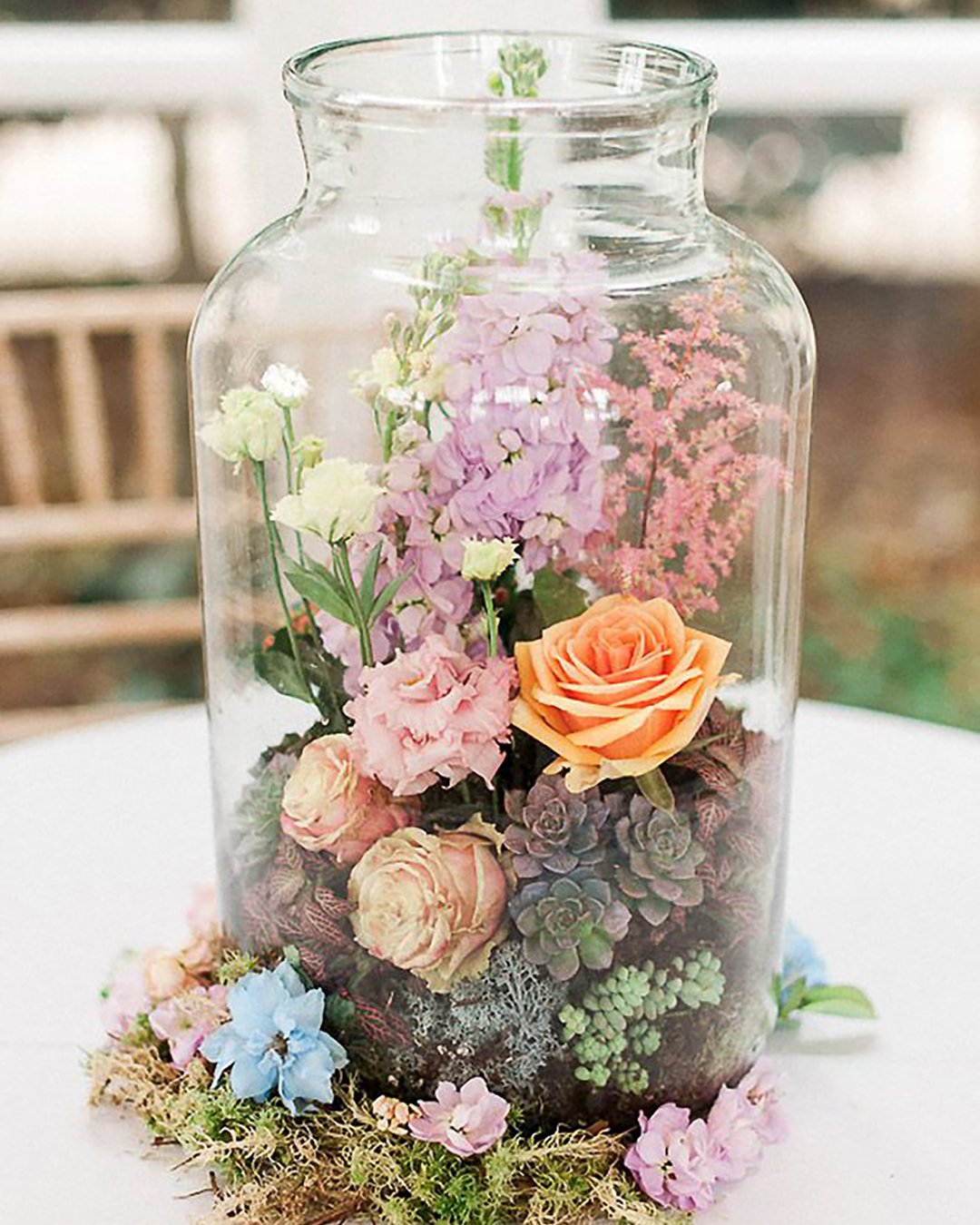 cheap boho decor flowers and succulents in glass can kate neilen photography