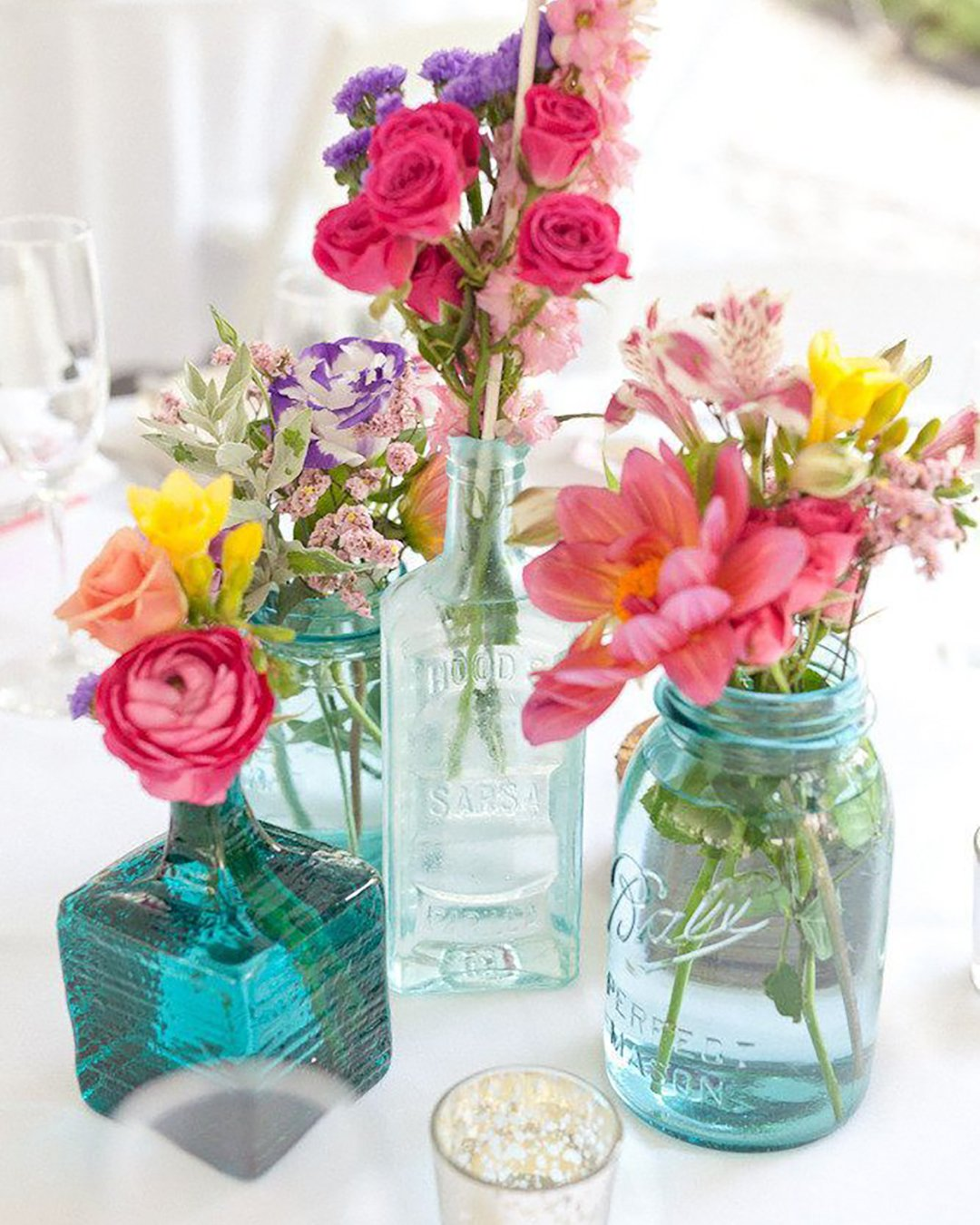 cheap boho decor flowers in color jars carolinefrostphotography