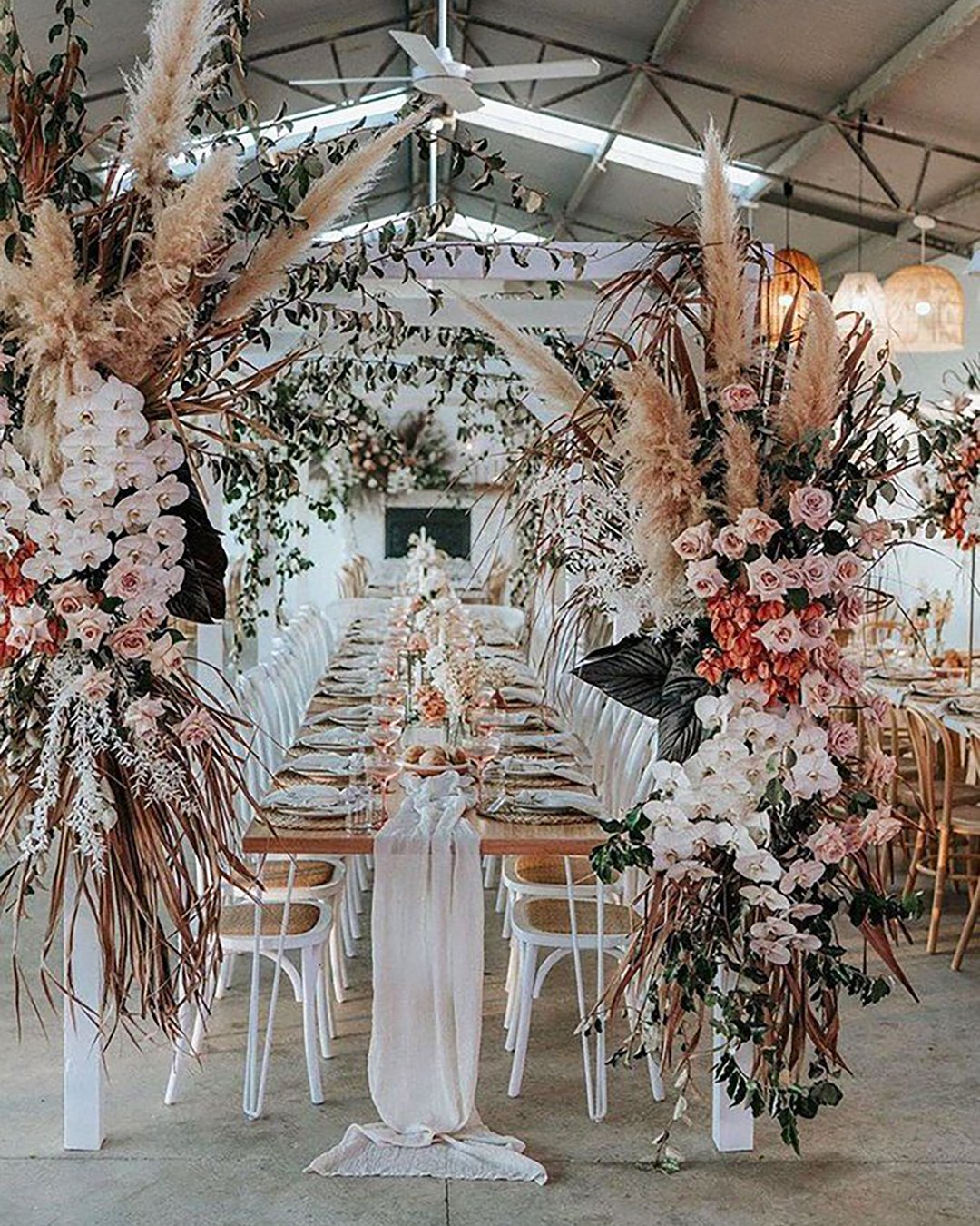 cheap boho decor pampass grass reception decor theevokecompany