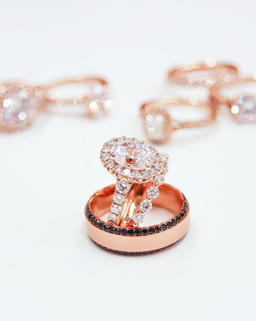 halo engagement rings diamond pave band rose gold